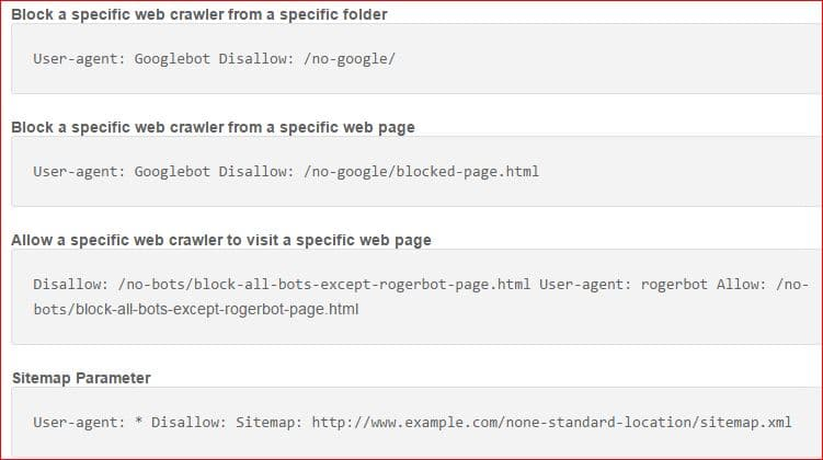 robots.txt file more examples