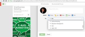 create a blog post in a G+ community