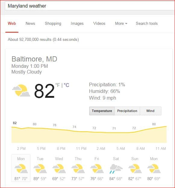 google search results weather