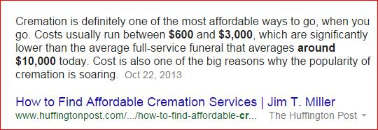 google search results cremation