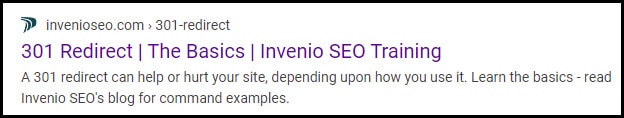 search results for titles and meta descriptions